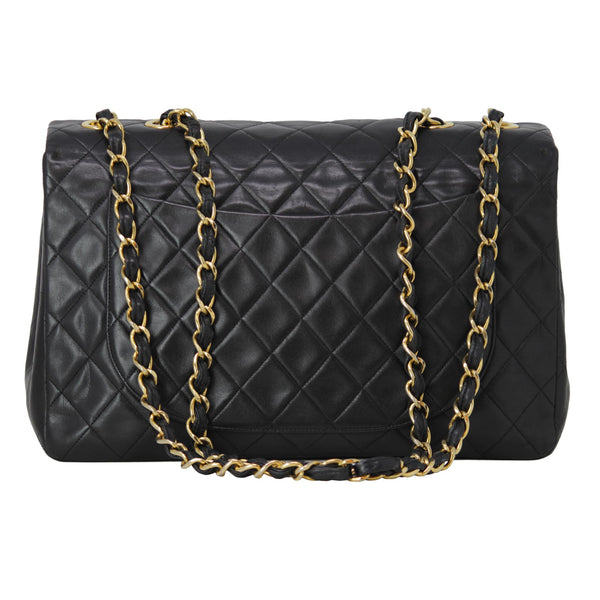 Chanel Black Large Leather Handbag Flap Purse Everyday Bag With Entwined Leather and Yellow Gold Hardware