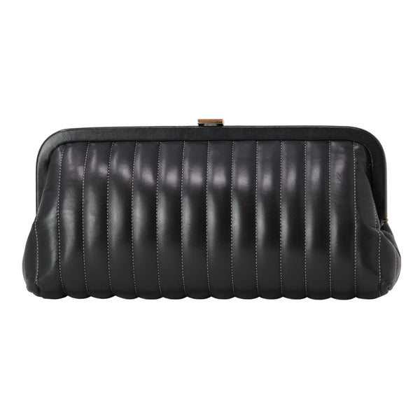 Chanel Black Leather Clutch Purse Evening Bag
