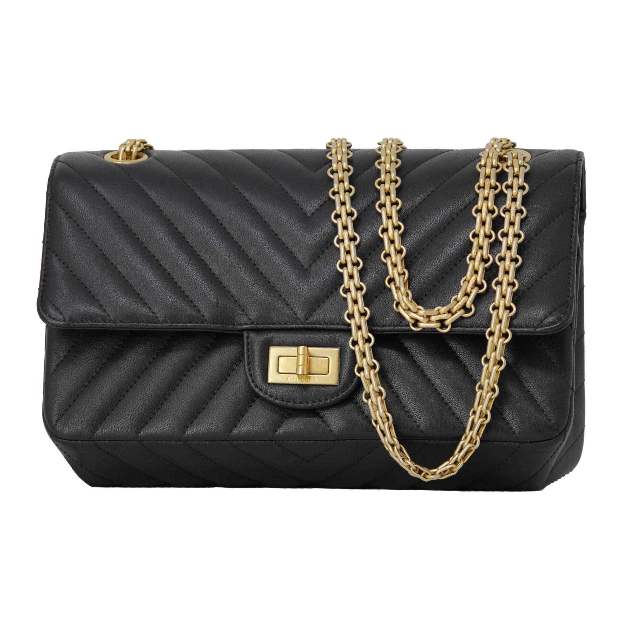 Chanel Black Handbag With Yellow Gold Hardware Flap Purse Everyday Bag