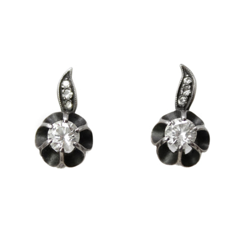 Lovely Diamond Flower Earrings - Antique Flower Petal Diamond Earrings
