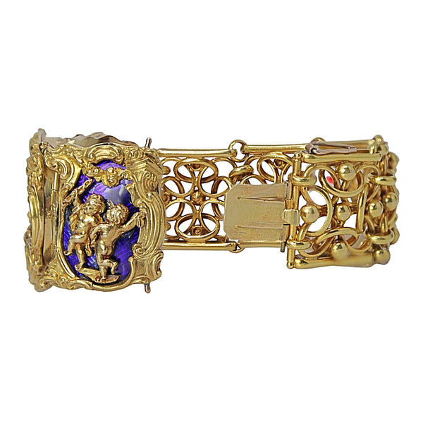 A Royal Wrist - Decorative Antique 18kt Yellow Gold Plaque Bracelet with Purple Blue Guilloche Enamel