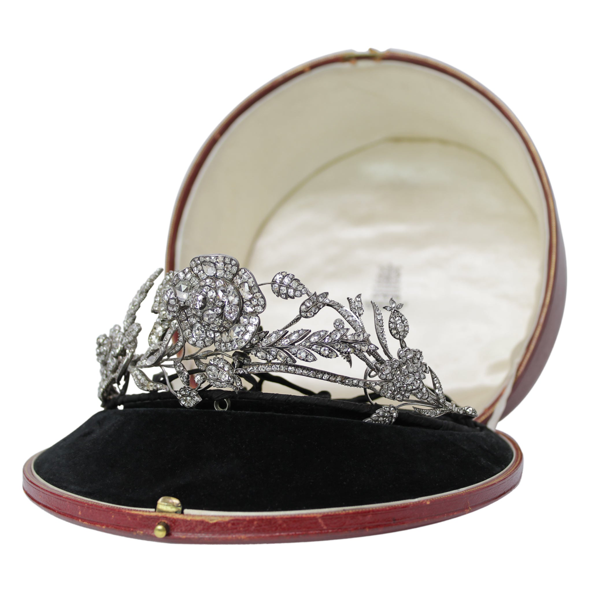 The Queen's Accessory  - Antique Diamond Floral Tiara Hair Piece Ties