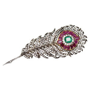 "Always the Star - Diamond, Ruby and Emerald Peacock Feather  ""En Tremblant"" Antique Brooch"