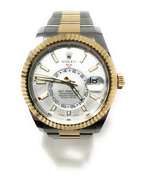 WTC132 Rolex Skydweller Two Tone White Face (old stock number WTC173T)