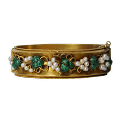Star Jasmine Bangle - Enamel and Pearl Antique Vine Bracelet 18k Yellow Gold