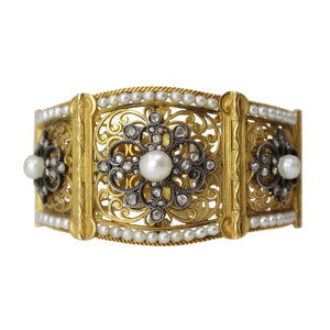 Be The Poetry Bangle - Old Russian Antique Seed Pearl and Diamond Yellow Gold Bracelet