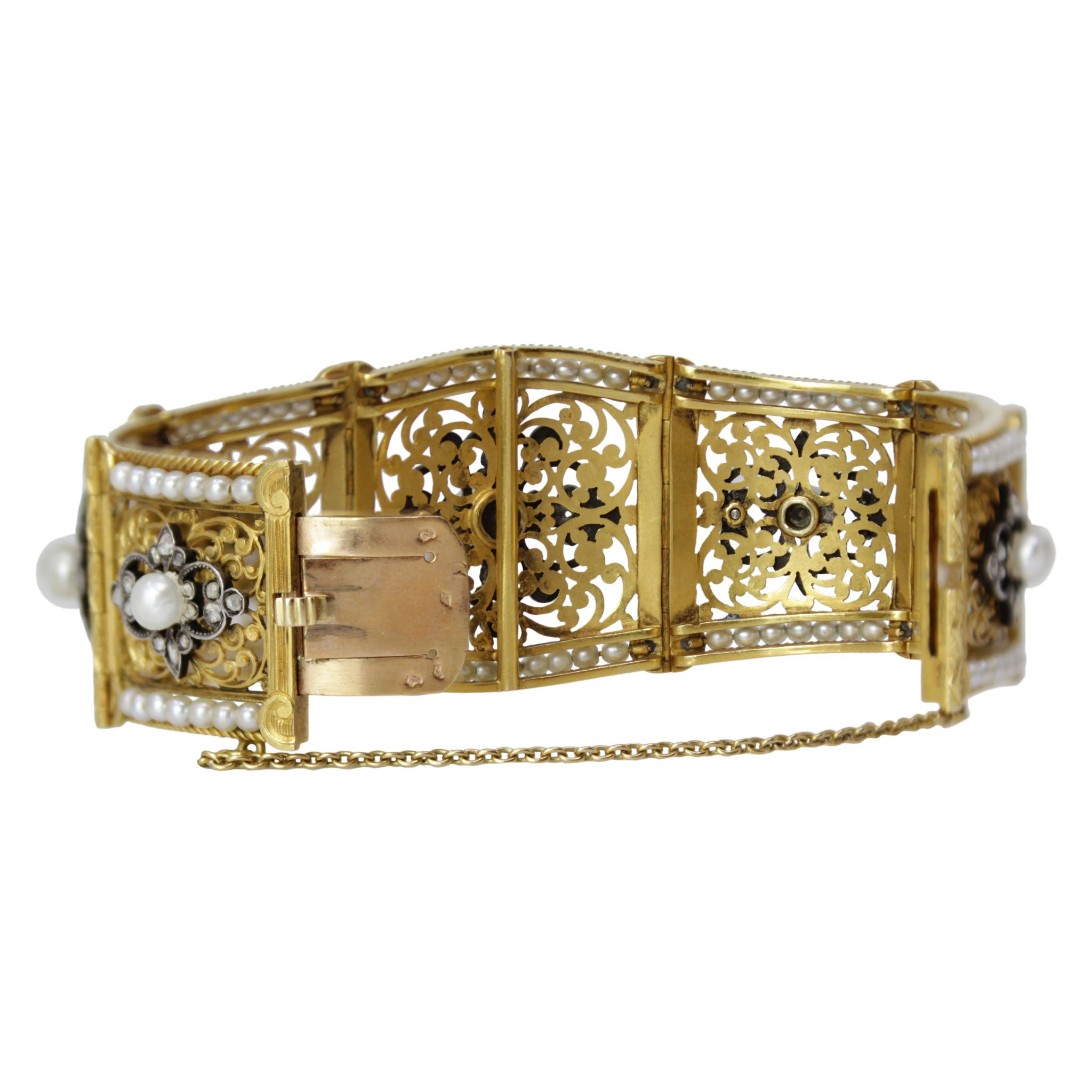 Russian Antique Pearl and Diamond Yellow Gold Bracelet