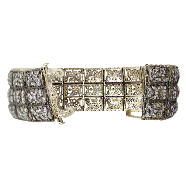 Medieval Diamonds in Lace Bracelet - Buccellati 18k White and Yellow Gold Diamond Plaque Bracelet