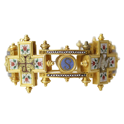 Mosaic Relic Bracelet - Rare Old Russian Micro Mosaic Antique 18k Yellow Gold Bracelet