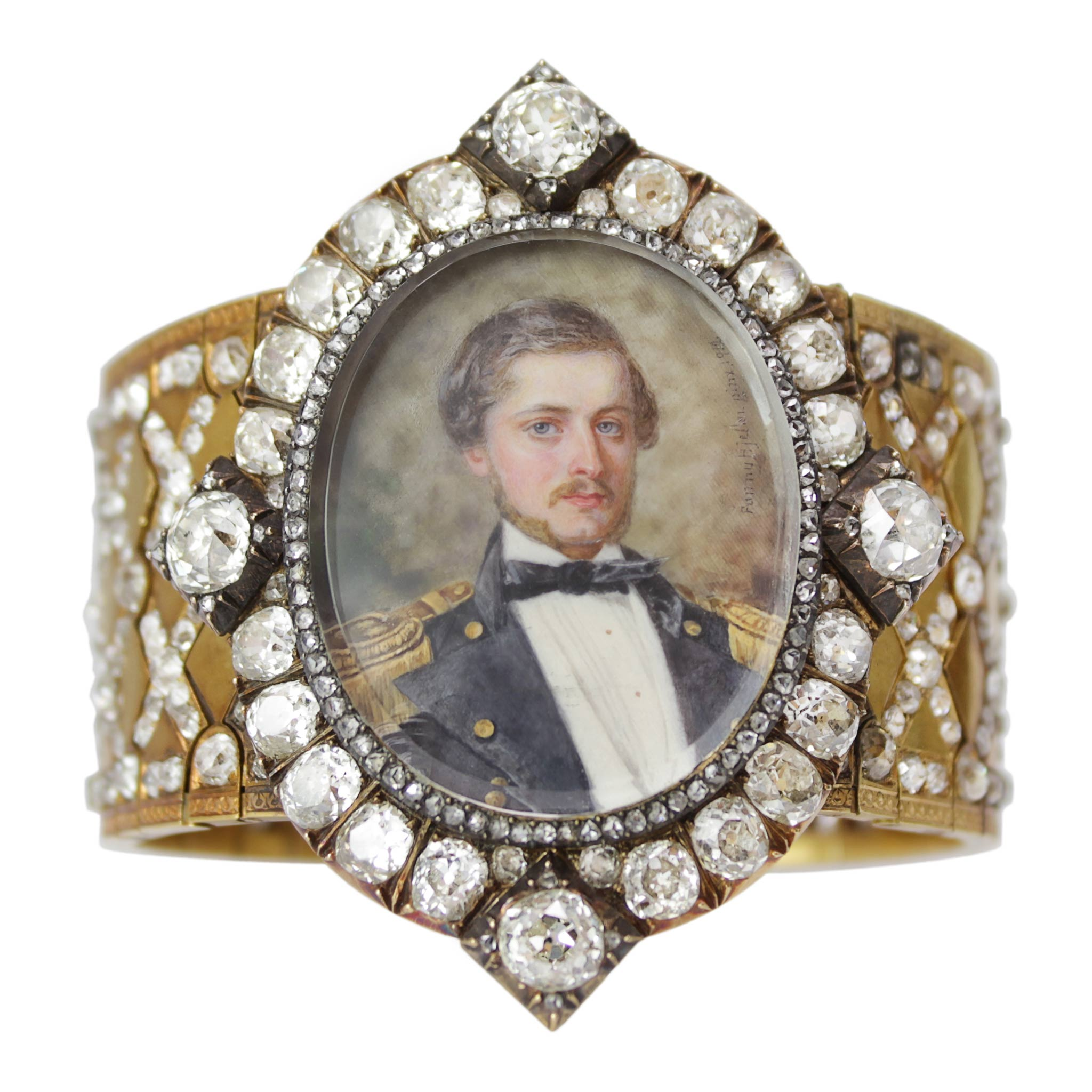 Romance and Diamonds Cuff - 18k Antique Bracelet with Swedish Artist Hand Painted Miniature Portrait of Military Man