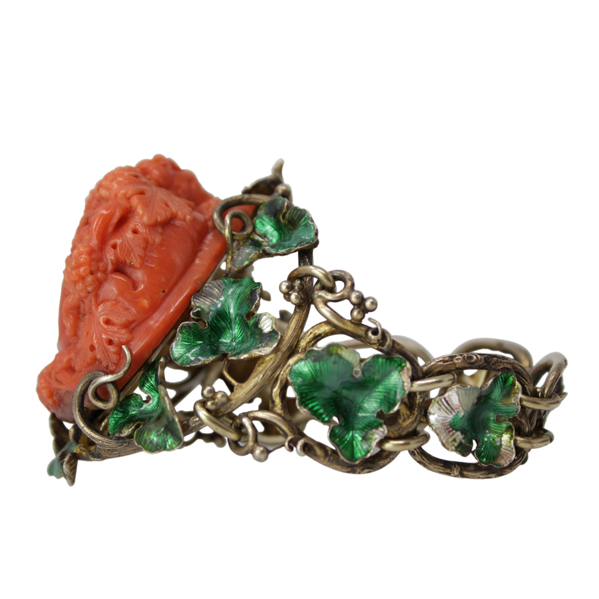 Whispers In The Wind - Sterling Silver Bracelet with Carved Coral Enamel Head of Bacchus with Green Enameling