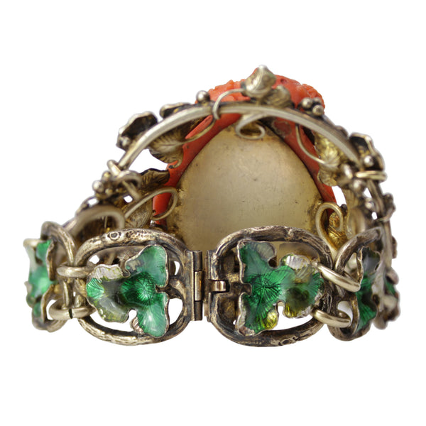Sterling Silver Bracelet with Carved Coral Enamel Head of Bacchus with Green Enameling
