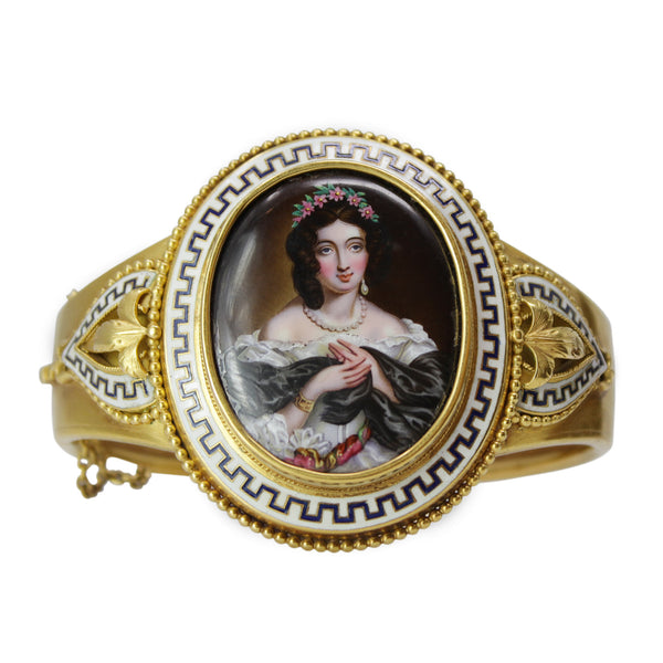 Mysterious Golden Cuff - Antique 22kt Yellow Gold Hand Painted Portrait of A Woman Bangle Bracelet