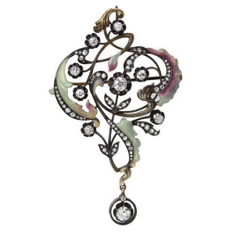 Art Nouveau Romance Brooch - Enamel and Diamond Brooch Pin