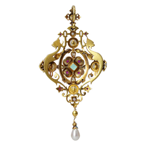 Victorian Jeweled Pendant Necklace - 22k Yellow Gold Antique Pendant by Giuliano Diamond, Emerald, Pearl and Ruby