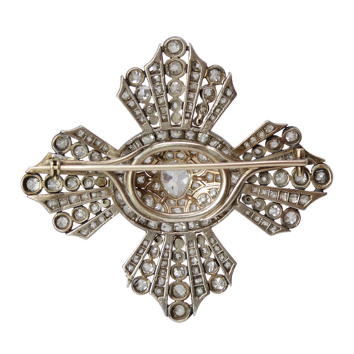 Royal Cross Brooch - Diamond Antique Brooch Pin