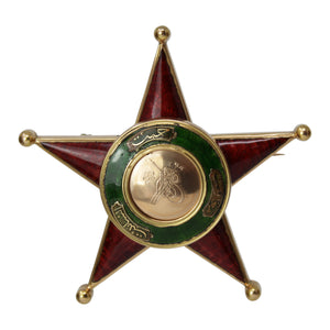 The Sheriff Brooch - Antique Yellow Gold and Enamel Star Brooch Pin