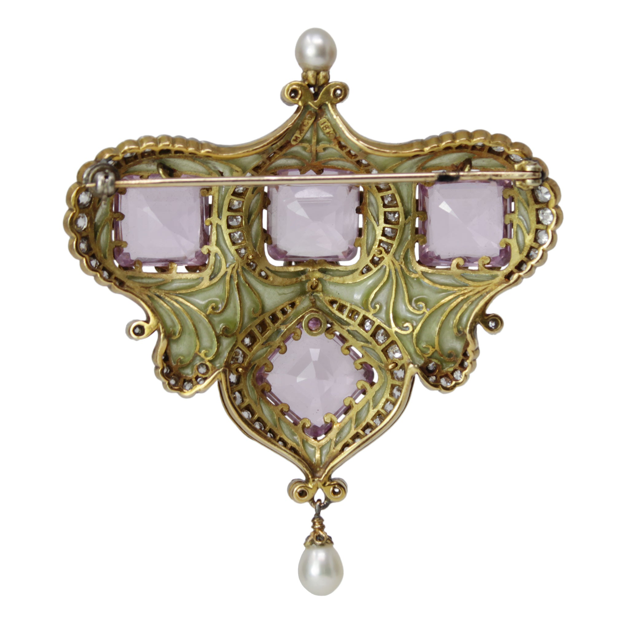 Lyrics To The Heart Brooch - 19th Century Pink Morganite 18kt Yellow Gold and Platinum Brooch Pin