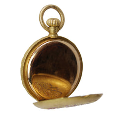 Timeless - 18k Yellow Gold Hunting Case Pocket Watch with Monogram in Diamonds, Rubies and Sapphires