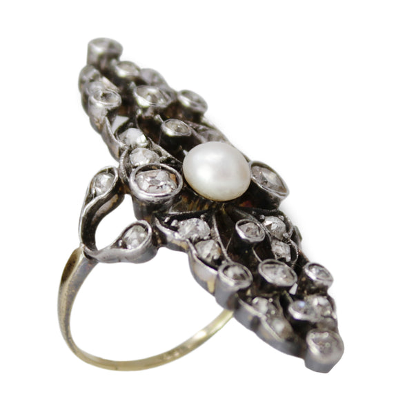 Ring Of Enchantment - Victorian Ring with Diamonds and Pearl Silver Antique