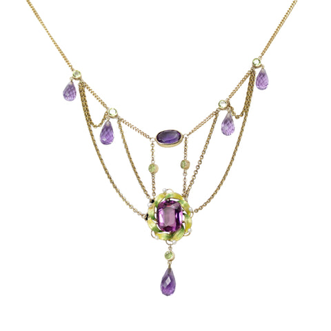 Royal Festoon Necklace - 18k Yellow Gold Victorian Fancy Cut & Briolette Amethyst & Peridot Necklace with Enamel & Seed Pearls