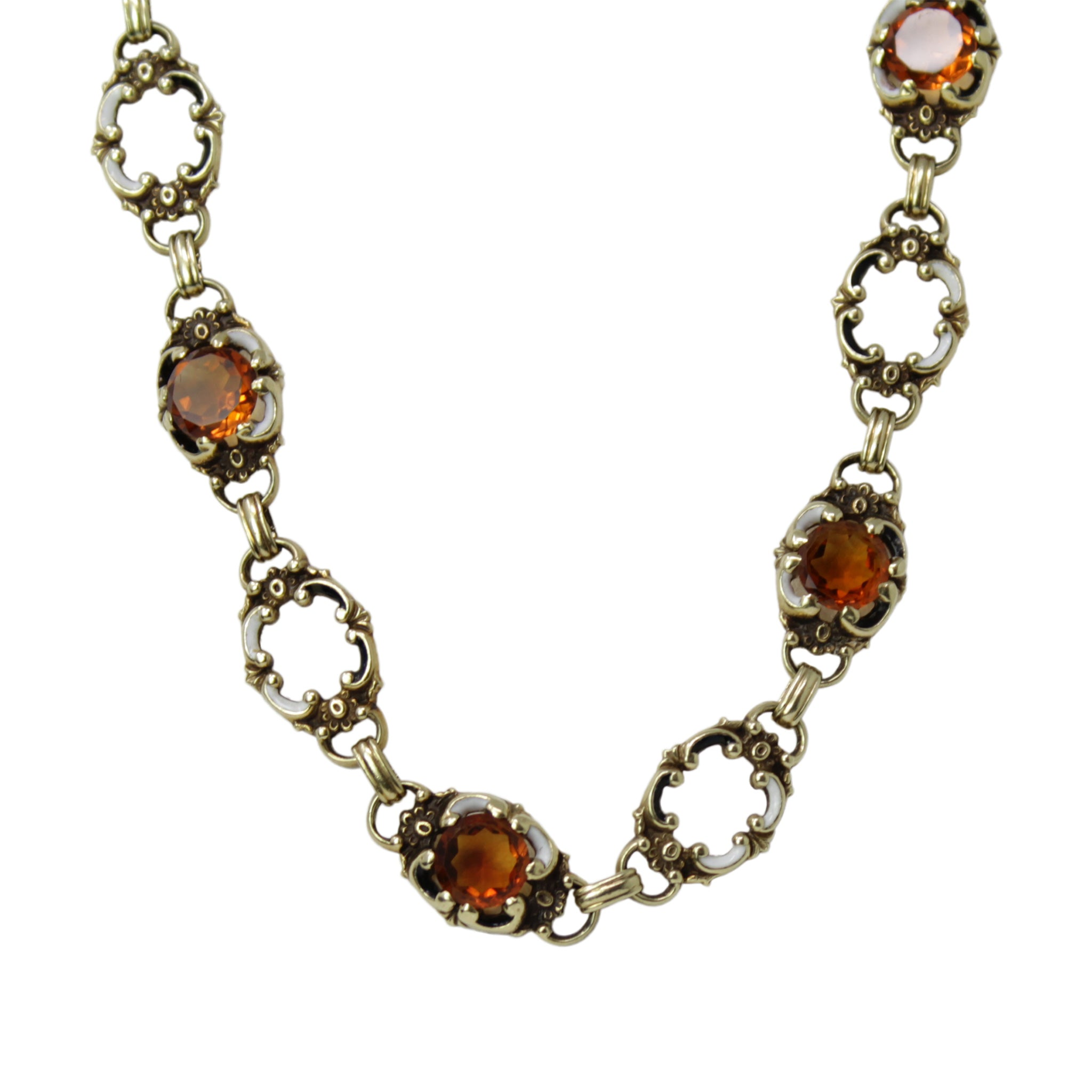The Art in Her Design - Art Noveau Garnet Long Necklace