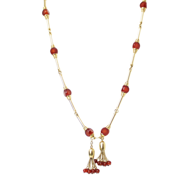 Ageless Sophistication - 19th Century Tassel Carnelian Bead and Gold Long Necklace and Bracelet Bangle Set