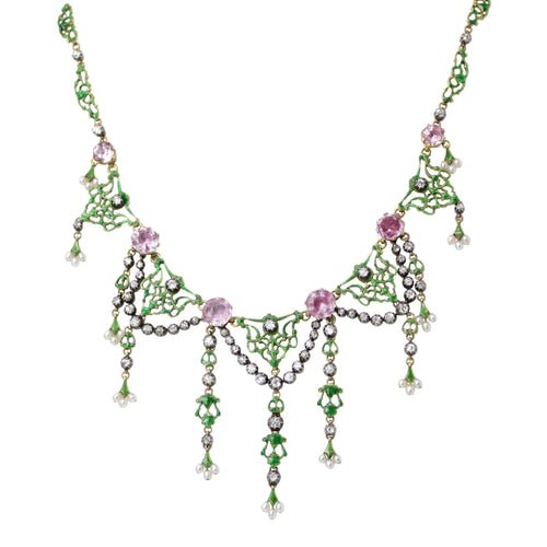 Rose Garden Necklace -19th Century Signed Carlo & Arthur Giuliano Diamond, Pink Stone, Pearl Enamel Gold Necklace