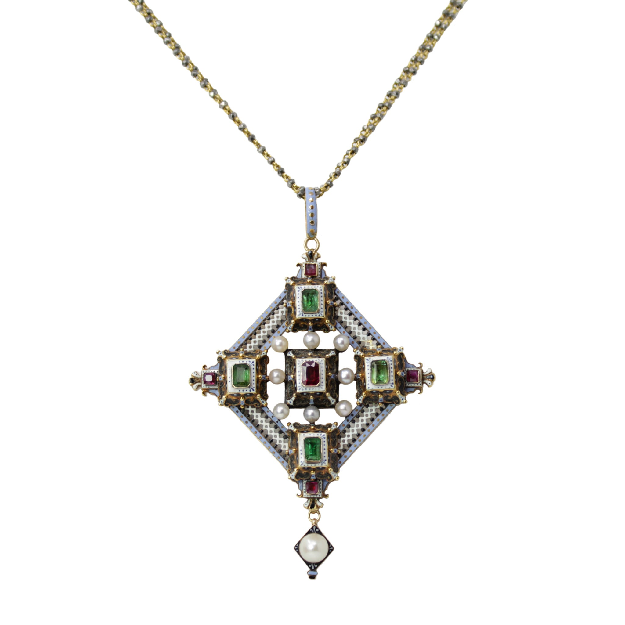 Empowering Emerald Necklace - Antique Ruby Emerald and Pearl Long Reliquary by G. Giuliano