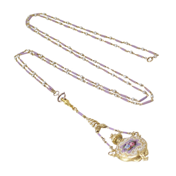 Lavender Fragrant - Perfume Fob on Long Enamel and Yellow Gold Chain