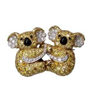 GRAFF Inseparable Koala Bear Brooch Pin w/ Box 18k White Gold With Diamonds