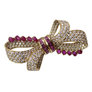 Bow Of Love and Compassion - 18k Yellow Gold Diamond and Ruby Bow Brooch Pin
