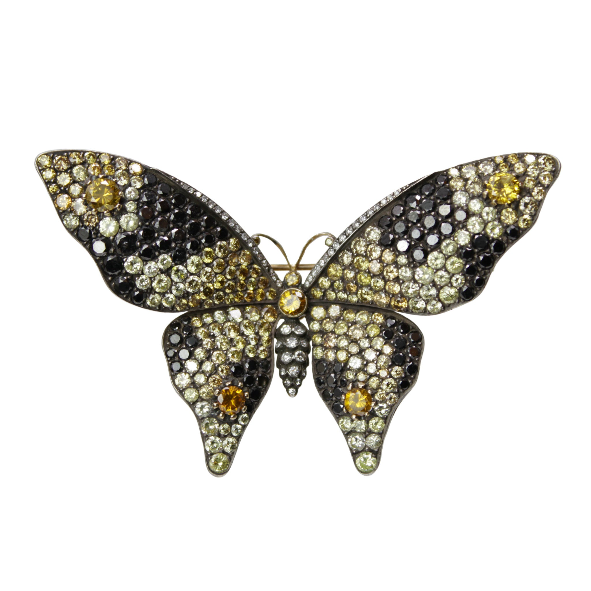 Dazzling Monarch Butterfly Pin - Fancy Yellow and Black Diamond Butterfly Brooch