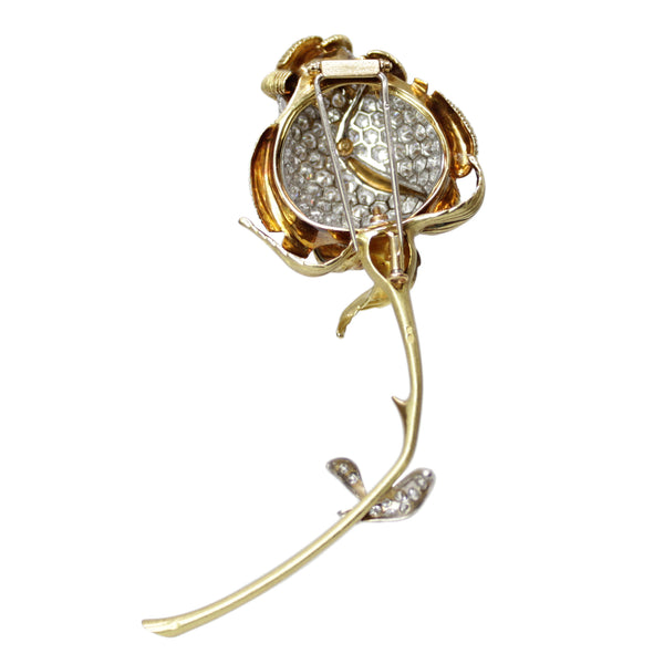 My Perfect Rose - Ruth Satsky 18K White and Yellow Gold Diamond Rose Brooch Pin