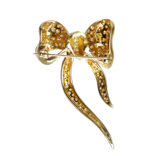 Add a Bow - 18K Yellow Gold and Diamond Ribbon Bow Brooch Pin