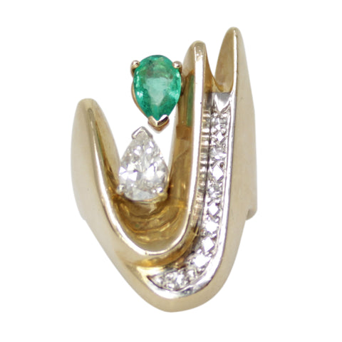 Journey Band -Diamond and Jade Curve Twist Ring - 14k Yellow Gold