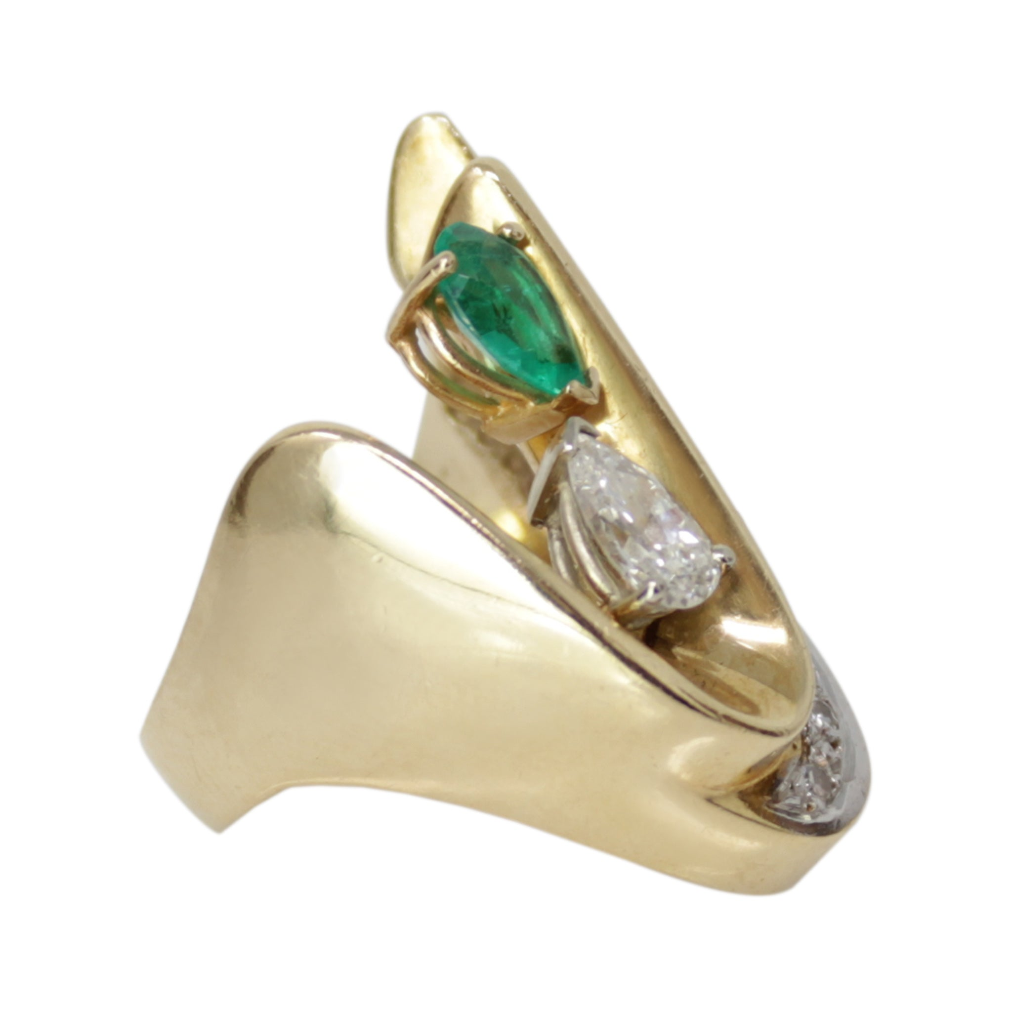 Fulfilled Emerald and Diamond Ring - Right Hand Ring Chunky Band