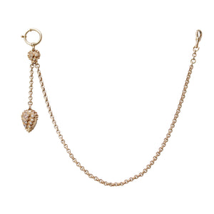 Fancy Fob - 14k Rose Gold with Seed Pearl Victorian Swivel Ball Pocket Watch Fob Chain