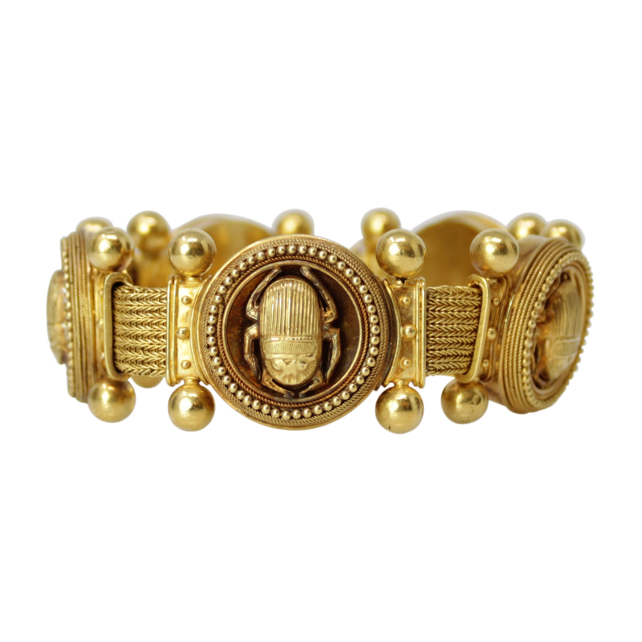 Immortal Egyptian Princess Bracelet - Scarab Beetle 18k Yellow Gold Egyptian Bracelet