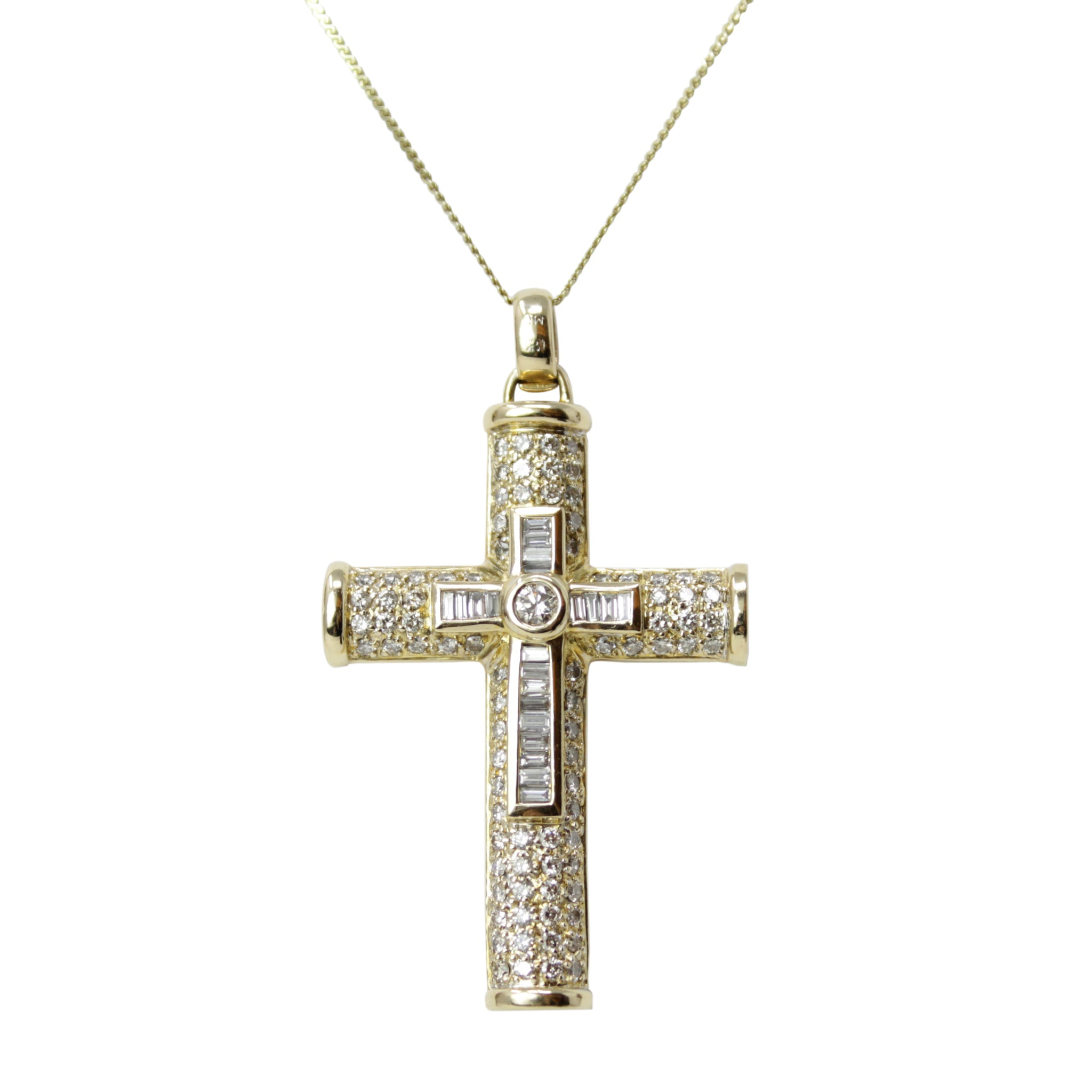 Cross of Support and Reflection - 14K Yellow Gold Men's Diamond Cross Pendant on 18K Yellow Gold Chain Necklace
