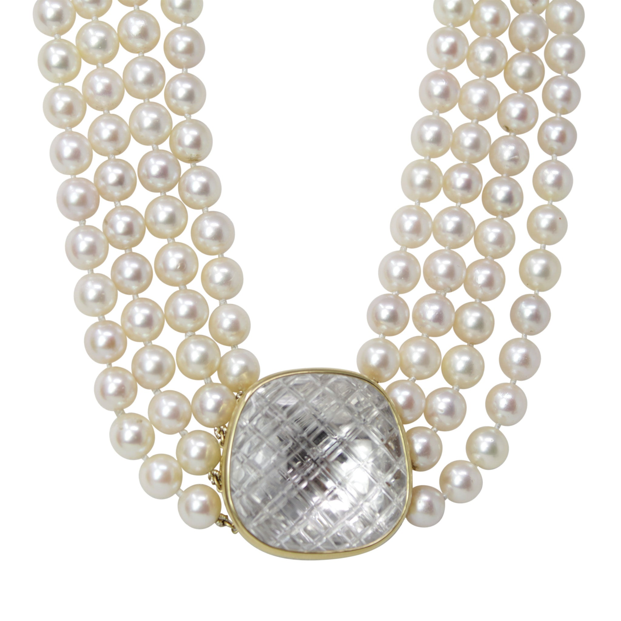 DAVID WEBB 18K Yellow Gold Center Quartz Crystal Pearl Necklace