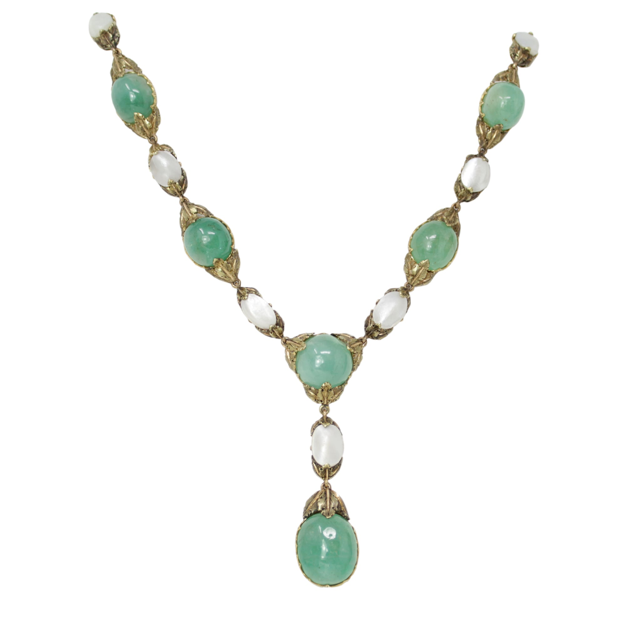 BUCCELLATI 18K Yellow Gold Emerald & Mother of Pearl Necklace