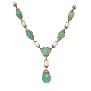 Kiss Me Kate Lariat Necklace - Buccellati 18K Yellow Gold Emerald & Mother of Pearl Necklace