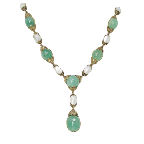 GREEN GLAMOUR - FRED 18K YELLOW GOLD JADE & DIAMOND TASSEL LONG NECKLACE