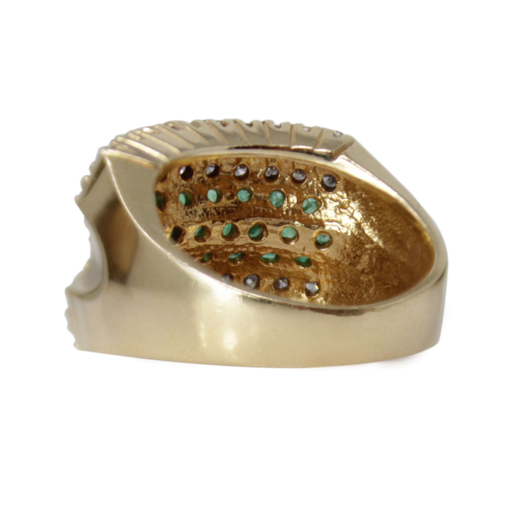 Gemini's Emerald Band - Striped Diamond and Emerald Flower Chunky 14k Yellow Gold Ring