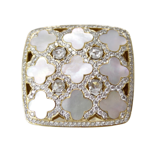 Lucky Clover Cocktail Ring - 18k Yellow Gold Mother of Pearl and Diamond Ring