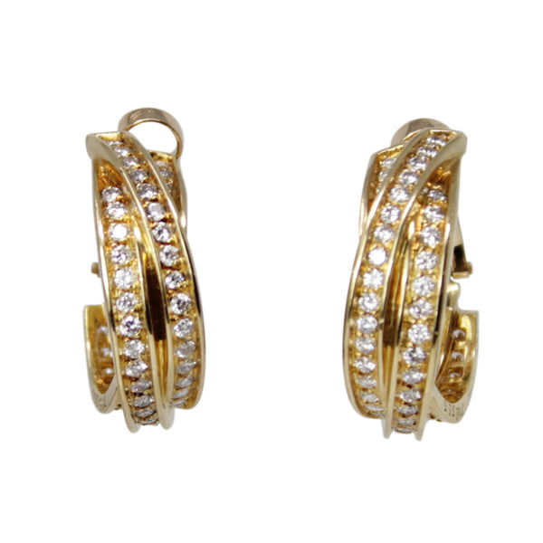 Cartier - Trinity 18k Yellow Gold Diamond Clip On Small Hoop Earrings