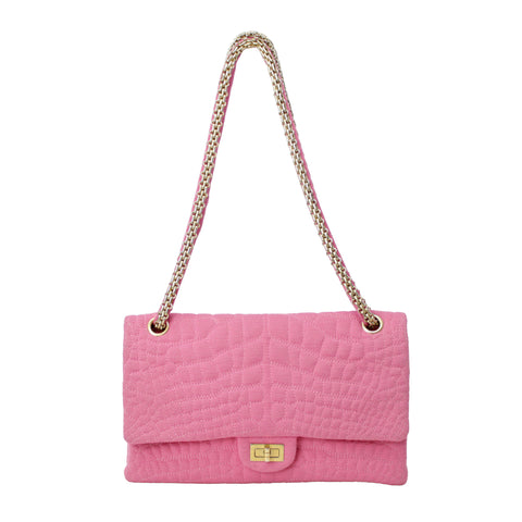 Chanel Pink Double Flap Quilted Handbag Purse Yellow Gold Hardware