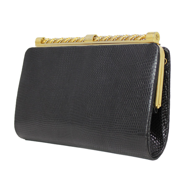 Gucci Vintage Black Lizard Clutch Handbag Purse