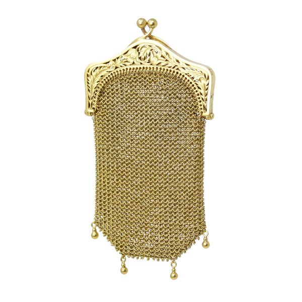 Antique Mesh 18k Yellow Gold Mini Coin Purse